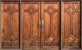 Old wooden door brown in temple thailand Royalty Free Stock Images