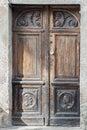 Old wooden door.  Detail from ancient door Royalty Free Stock Photo