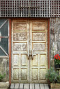 Old wooden door frame Royalty Free Stock Photos