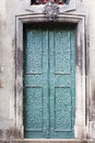 Old wooden door green relief Stock Photography