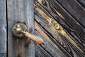 Old wooden door handle Royalty Free Stock Photo