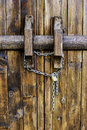 Old wooden door and lock Royalty Free Stock Images