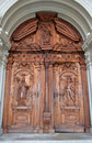 Old wooden door in lucerne of the catholic cathedral switzerland Royalty Free Stock Images