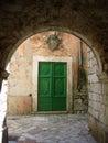Old wooden door stock image kotor bay montenegro Royalty Free Stock Image