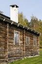 Old wooden dwelling house delsbo namned norrbergsstugan at homestead museum swedish forngård halsingland swedish Stock Photos