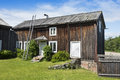 Old wooden dwelling house halsingland of ystegårn one of around one thousand decorated farmhouses of swedish hälsingland Royalty Free Stock Photo