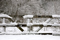 Old Wooden Farm Fence Gate Convered in Winter Snow Royalty Free Stock Photo