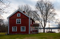 Old wooden farmhouse in sweden the village skruvshult at the moose lake aelgsjoen smaland typical countryside view the south Stock Photos