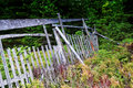 Old wooden fence in the forest Royalty Free Stock Photo