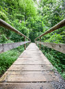 Old wooden footbridge beautiful at a forest Royalty Free Stock Photo