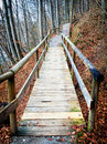 Old wooden footbridge beautiful at a forest Stock Photos