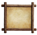 Old wooden frame with paper or parchment background isolated Royalty Free Stock Photo