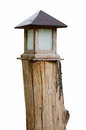 Old wooden garden lantern box Stock Photo