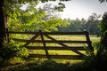 Old wooden gate, entrance into the green meadow in a sunny day in Romania Royalty Free Stock Photo