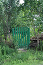 Old wooden gate in the garden Stock Images