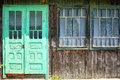 Old wooden house facade door form and rural Royalty Free Stock Photo