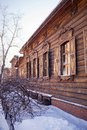 Old wooden house in the Irkutsk city Royalty Free Stock Images