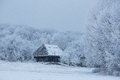 Old wooden house in the middle of the forest in winter Royalty Free Stock Photo