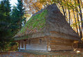 Old wooden house with thatched roof Royalty Free Stock Photo