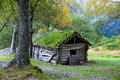 Old wooden house on the way to Briksdalsbreen, Norway