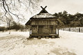 Old wooden house in winter Royalty Free Stock Photo