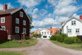 Old wooden houses in pataholm sweden typical the small swedish coastal town Royalty Free Stock Images