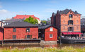 Old wooden houses on the river coast porvoo finland june red in historical finnish town Royalty Free Stock Photos