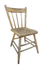 Old wooden kitchen chair isolated.