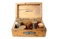 Old wooden moneybox Stock Photo