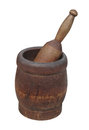 Old wooden mortar and pestle isolated worn on white Royalty Free Stock Photography