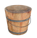 Old wooden pail isolated weathered and worn with lid on white Royalty Free Stock Image