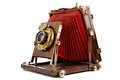 Old wooden photo camera Stock Image