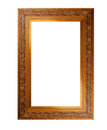 Old wooden picture frame with empty place for text or image over white background Royalty Free Stock Photo