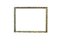 Old wooden picture frame on isolated white background. Royalty Free Stock Photo