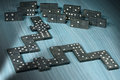 Old Wooden Pieces of the Domino Game Royalty Free Stock Photo