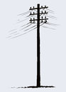 Old wooden power pole Royalty Free Stock Photo