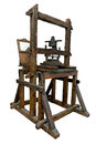 Old wooden printing press isolated on white clipping path included Stock Image