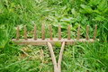 Old wooden rake on grass Royalty Free Stock Photos
