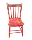 Old wooden red chair isolated worn and weathered plain with paint splatters on white Stock Photos