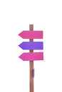 Old wooden road sign arrows isolated Royalty Free Stock Photo