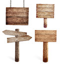 Title: Old wooden road signs set isolated