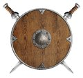 Old wooden round shield and two crossed swords Royalty Free Stock Photo