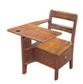 Old wooden school desk isolated child's with drawer on white Royalty Free Stock Images