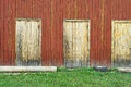 Old wooden shed doors on facade of Stock Image