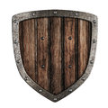 Old wooden shield isolated on white Royalty Free Stock Photography