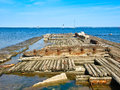 Old wooden ship sunk tallinn estonia sunny day Royalty Free Stock Image