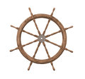 Old wooden ships wheel isolated. Royalty Free Stock Photo