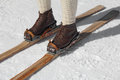 Old wooden skis leather ski boots Royalty Free Stock Photography
