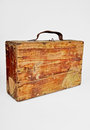Old wooden suitcase on the white background Stock Photos