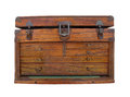 Old wooden tool chest isolated. Royalty Free Stock Photo